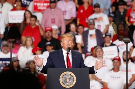 U.S. President Donald Trump delivers remarks during a Keep America Great rally at the Santa Ana Star Center in Rio Rancho, New Mexico