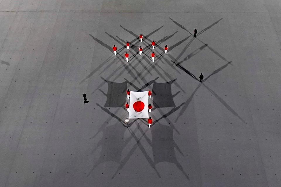 <p>An aerial view as the Japanese flag was carried into the opening ceremony.</p>