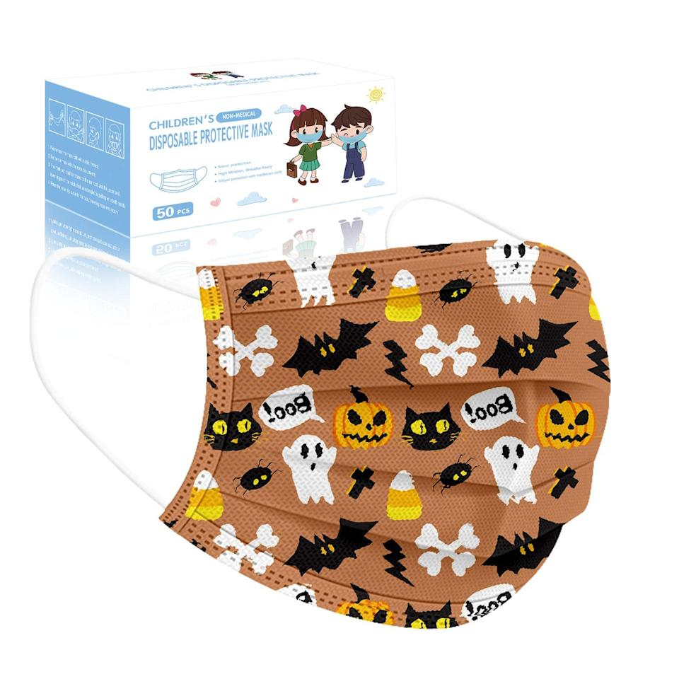 """<br><br><strong>Kxkdss</strong> Halloween Disposable Face Mask, 50pcs 3 Layers, $, available at <a href=""""https://amzn.to/3iqrWsY"""" rel=""""nofollow noopener"""" target=""""_blank"""" data-ylk=""""slk:Amazon"""" class=""""link rapid-noclick-resp"""">Amazon</a>"""