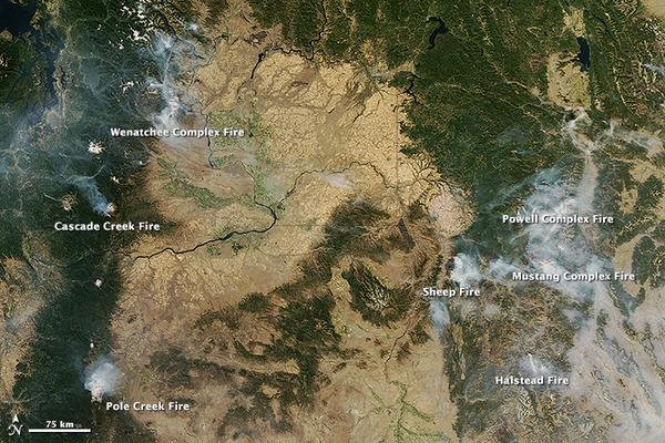 NASA's Aqua satellite captured images of several large fires burning in the Northwest on Sept. 17, 2012.