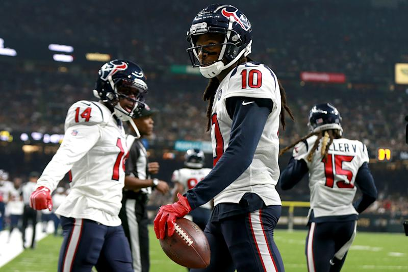 DeAndre Hopkins drew a 15-yard penalty for an exceptionally violent tackle of a Saints defender. (Getty)