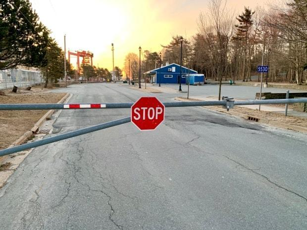 The gate to the lower parking lot of Point Pleasant Park was closed and locked on March 23, 2020, the first full day Nova Scotia was under a state of emergency due to COVID-19.