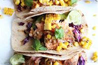 """<p>These salmon tacos by<a href=""""https://thetoastedpinenut.com/salmon-tacos-homemade-salsa/"""" rel=""""nofollow noopener"""" target=""""_blank"""" data-ylk=""""slk:The Toasted Pine Nut"""" class=""""link rapid-noclick-resp""""> The Toasted Pine Nut</a> are high in good, omega-3 fatty acids from the salmon, to lower inflammation, boost satiety, and promote weight loss. Plus, they use spices, like chili powder, garlic, jalapeno, and cumin to bring the heat as both a flavor enhancer and metabolism booster, so you burn more calories and fill up faster.</p>"""