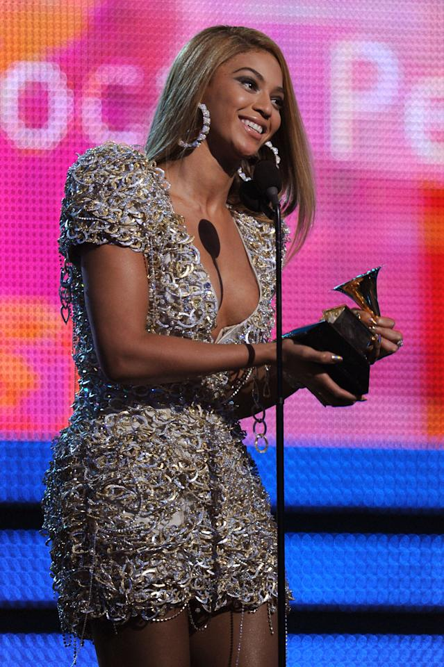 """<p>Beyoncé started the decade with a historic night at 2010 Grammys. The singer, who had released <strong>I Am... Sasha Fierce</strong>, won the most awards by a female artist in one night (the record was later tied by Adele in 2012). That night, Bey won best female R&amp;B vocal performance, best R&amp;B song, and song of the year for """"Single Ladies (Put a Ring on It)""""; best female pop vocal performance for """"Halo""""; best traditional R&amp;B vocal performance for """"At Last""""; and best contemporary R&amp;B album for <strong>I Am... Sasha Fierce</strong>.</p> <p>That year, Bey also released the <a href=""""https://www.youtube.com/watch?v=EVBsypHzF3U"""" target=""""_blank"""" class=""""ga-track"""" data-ga-category=""""Related"""" data-ga-label=""""https://www.youtube.com/watch?v=EVBsypHzF3U"""" data-ga-action=""""In-Line Links"""">now-iconic """"Telephone"""" music video</a> alongside <a class=""""sugar-inline-link ga-track"""" title=""""Latest photos and news for Lady Gaga"""" href=""""https://www.popsugar.com/Lady-Gaga"""" target=""""_blank"""" data-ga-category=""""Related"""" data-ga-label=""""https://www.popsugar.com/Lady-Gaga"""" data-ga-action=""""&lt;-related-&gt; Links"""">Lady Gaga</a> (who was also <a href=""""https://www.popsugar.com/celebrity/lady-gaga-best-moments-from-2010s-46978103"""" class=""""ga-track"""" data-ga-category=""""Related"""" data-ga-label=""""https://www.popsugar.com/celebrity/lady-gaga-best-moments-from-2010s-46978103"""" data-ga-action=""""In-Line Links"""">on her way to megafame</a>) and dropped <a href=""""https://www.youtube.com/watch?v=Mb0mZz_u4b4"""" target=""""_blank"""" class=""""ga-track"""" data-ga-category=""""Related"""" data-ga-label=""""https://www.youtube.com/watch?v=Mb0mZz_u4b4"""" data-ga-action=""""In-Line Links"""">her documentary, <strong>I Am... World Tour</strong></a>, which gave fans a closer look at her 108-show tour that spanned from March 2009 to February 2010.</p>"""