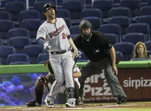 Minnesota Twins batter Trevor Plouffe (24) reacts after getting hit with a foul ball he hit in the first inning of a baseball game against the Miami Marlins in Miami. Behind Plouffe are Marlins catcher Jeff Mathis and home plate umpire Tim Welks. (AP Photo/J Pat Carter)