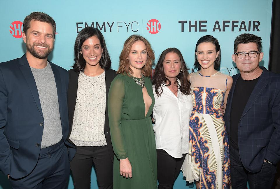 """BEVERLY HILLS, CA - MAY 06:  Joshua Jackson, Sarah Treem, Ruth Wilson, Maura Tierney, Julia Goldani Telles and Jeffrey Reiner attend a screening for Showtime's """"The Affair"""" at the Samuel Goldwyn Theater on May 6, 2015 in Beverly Hills, California.  (Photo by Jason Kempin/Getty Images)"""