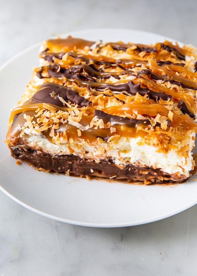 "<p>Yes — you read that correctly!</p><p>Get the recipe from <a href=""https://www.delish.com/cooking/recipe-ideas/a30766289/samoa-dessert-lasagna-recipe/"" target=""_blank"">Delish.</a></p>"
