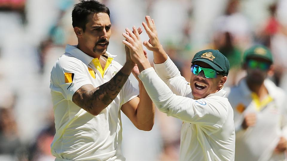 Mitchell Johnson and David Warner, pictured here during a Test match for Australia in 2014.