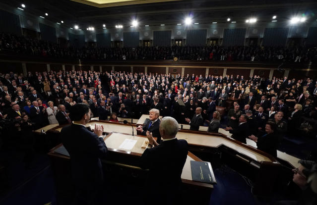 <p>Trump arrives to deliver his State of the Union address to a joint session of Congress on Capitol Hill in Washington, D.C., on Jan. 30. (Photo: Jim Bourg/AP) </p>