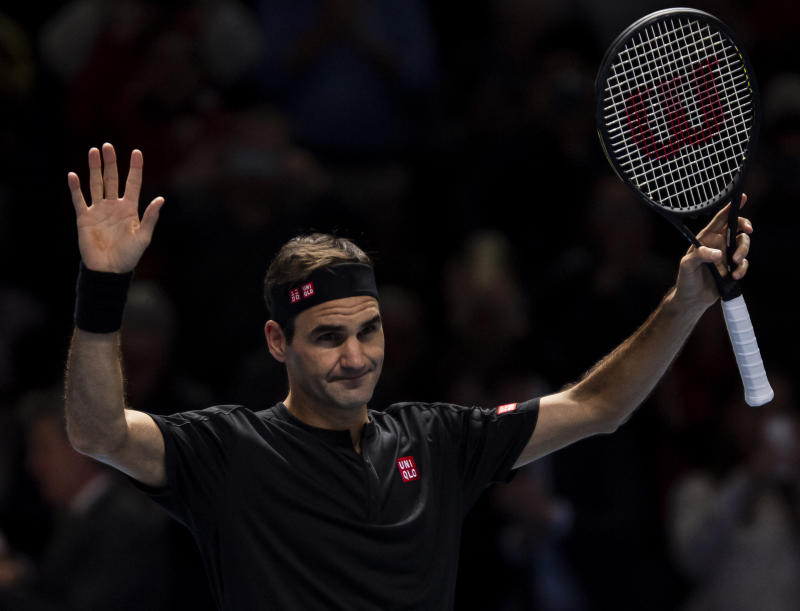 Roger Federer celebrates his victory over Matteo Berrettini of Italy during Day three of the Nitto ATP World Tour Finals at The O2 Arena on November 12, 2019 in London, England.