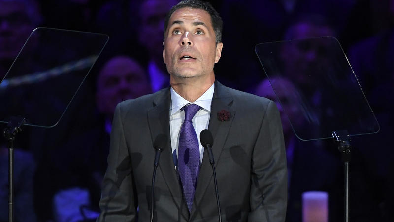 Rob Pelinka, pictured here speaking during The Celebration of Life for Kobe & Gianna Bryant at Staples Centre.