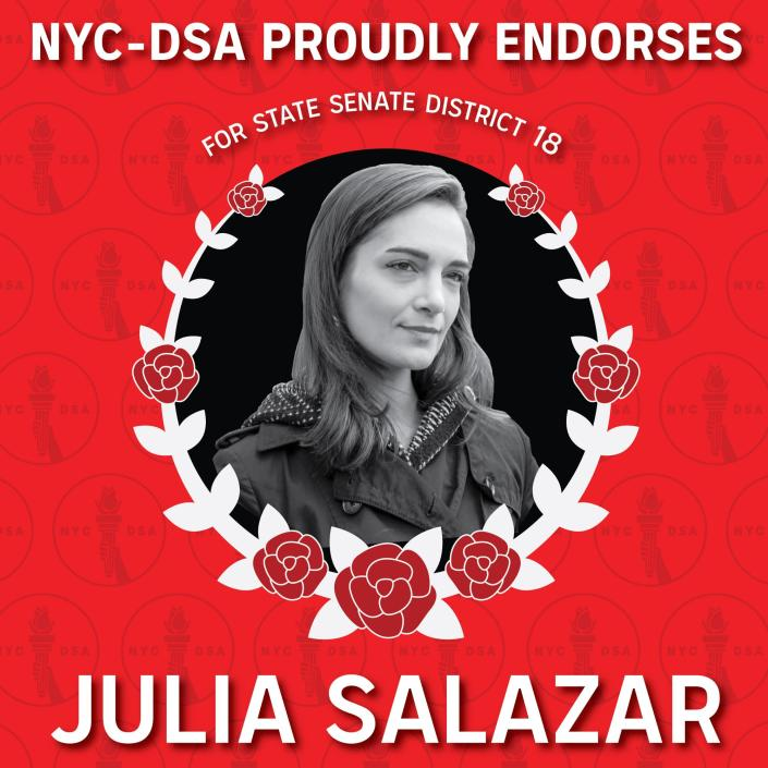 The Democratic Socialists of America's ad campaign endorsing state Senate candidate Julia Salazar. (Photo: Julia Salazar for state Senate via Facebook)
