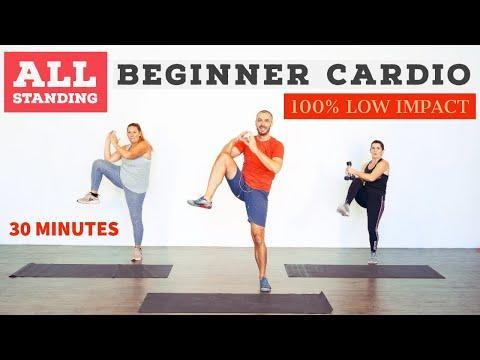 "<p>Get your heart rate up with a standing beginners workout. You'll cycle through cardio exercises designed to burn fat and torch cals. </p><p><strong>Equipment: </strong>None, dumbbells optional</p><p><a href=""https://www.youtube.com/watch?v=PvEnWsPrL4w&t=568s&ab_channel=BodyProject"" rel=""nofollow noopener"" target=""_blank"" data-ylk=""slk:See the original post on Youtube"" class=""link rapid-noclick-resp"">See the original post on Youtube</a></p>"