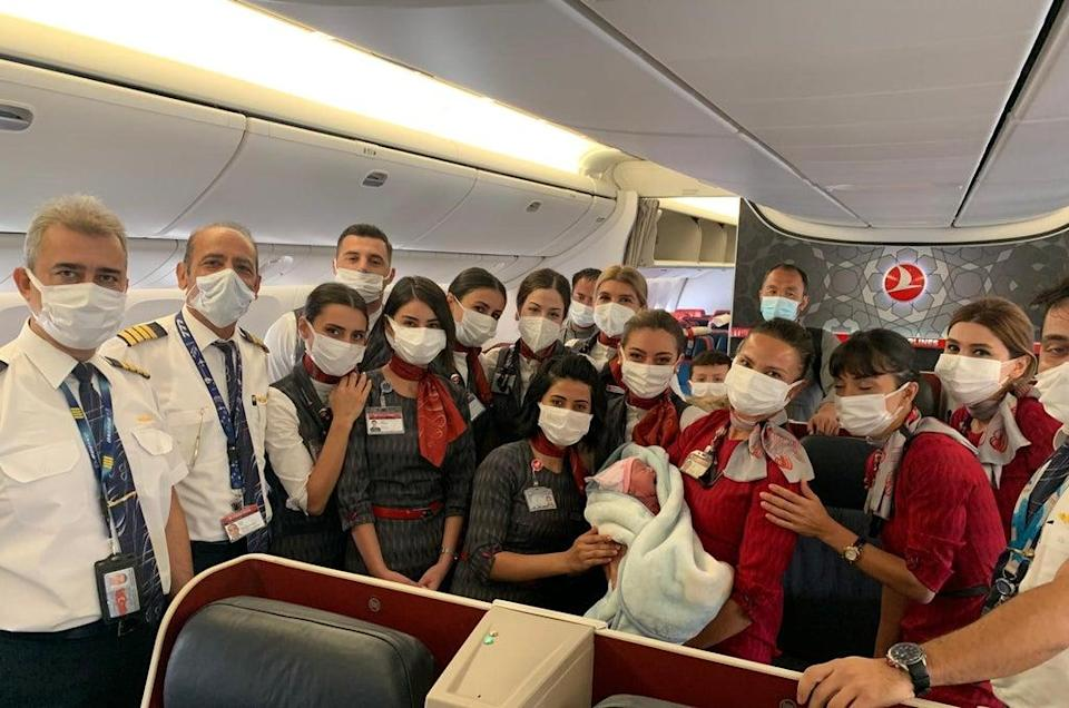 The cabin crew assisted with the delivery of the healthy baby girl 'Havva' (Turkish Airlines)
