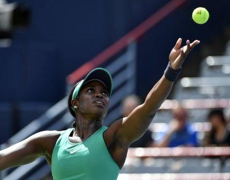 Aug 10, 2018; Montreal, Quebec, Canada; Sloane Stephens of the United States serves against Anastasija Sevastova of Latvia (not pictured) in the Rogers Cup tennis tournament at Stade IGA. Mandatory Credit: Eric Bolte-USA TODAY Sports