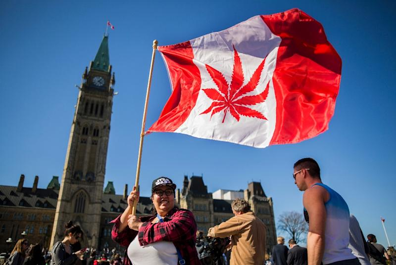 A woman waves a flag with a marijuana leef on it next to a group gathered to celebrate National Marijuana Day on Parliament Hill in Ottawa, Canada on April 20, 2016