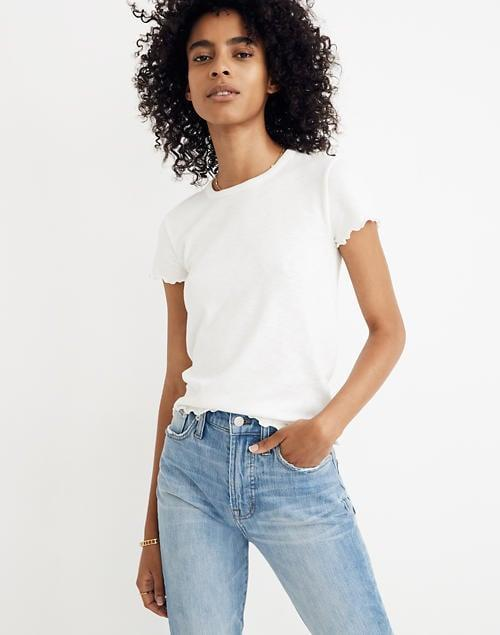 <p>You can't go wrong with a basic layer like this <span>Madewell Baby Tee</span> ($40).</p>