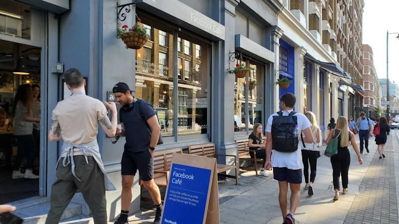 Facebook's pop-up at the Attendant coffee shop in Shoreditch, London.