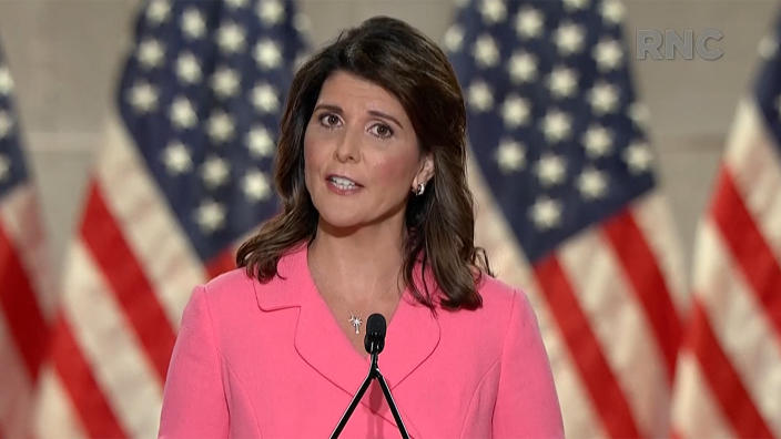 Nikki Haley speaks during the virtual Republican National Convention on August 24, 2020. (via Reuters TV)