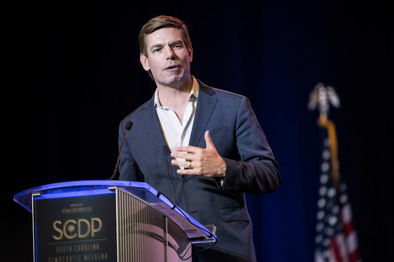 Rep. Eric Swalwell, D-Calif., speaks to the crowd during the 2019 S.C. Democratic Party Convention. (Photo: Sean Rayford/Getty Images)