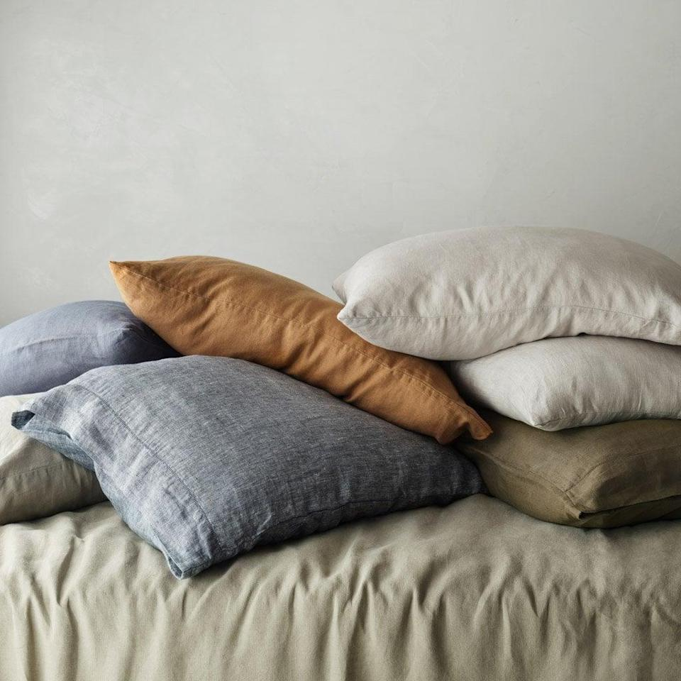 <p>If you want to start small and test the material for yourself, then get the soft <span>The Citizenry Stonewashed Linen Pillowcases Set</span> ($65). You can choose your favorite color.</p>
