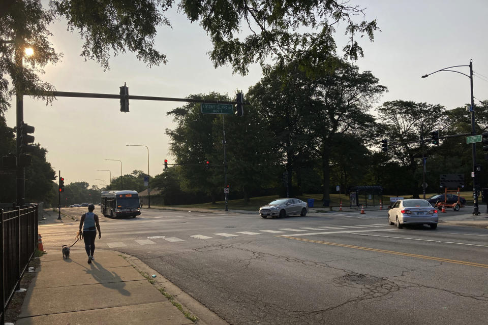A pedestrian walks with a dog at the intersection of South Stony Island Avenue and East 63rd Street where the ShotSpotter technology is in use above the crossroads on Tuesday, Aug. 10, 2021, in Chicago. (AP Photo/Charles Rex Arbogast)
