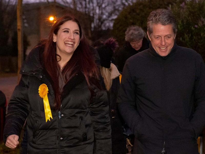 Liberal Democrat's candidate for Finchley and Golders Green, Luciana Berger and Hugh Grant canvassing: PA