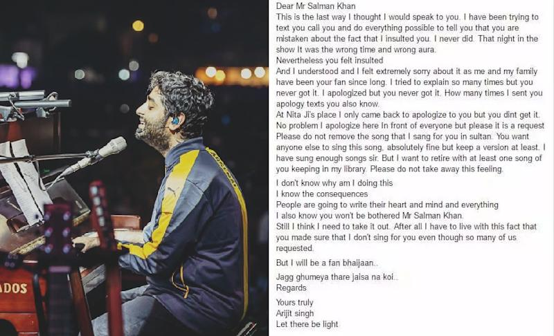 Arijit Singh's Facebook apology to Salman Khan