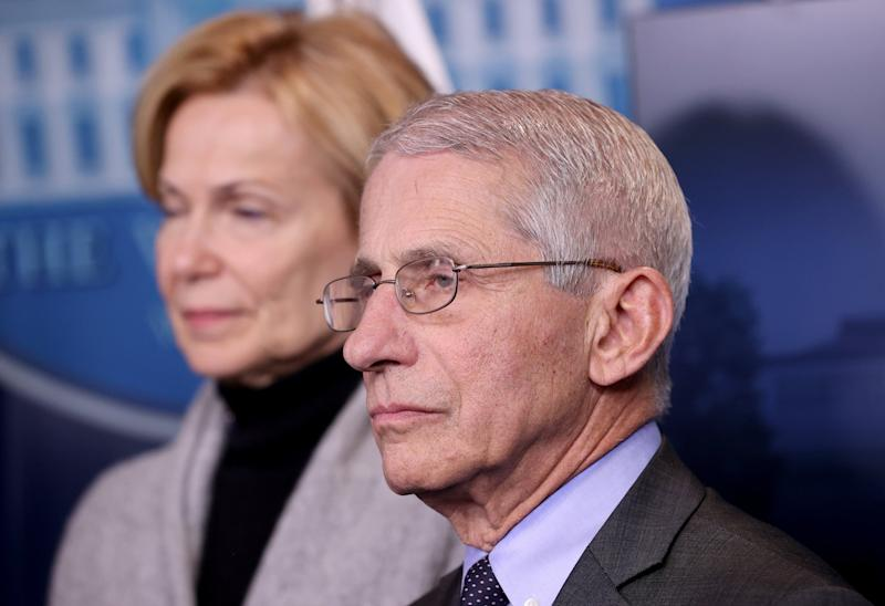 Dr Anthony Fauci, director of the National Institute of Allergy and Infectious Diseases, at a White House press conference on coronavirus: Getty Images