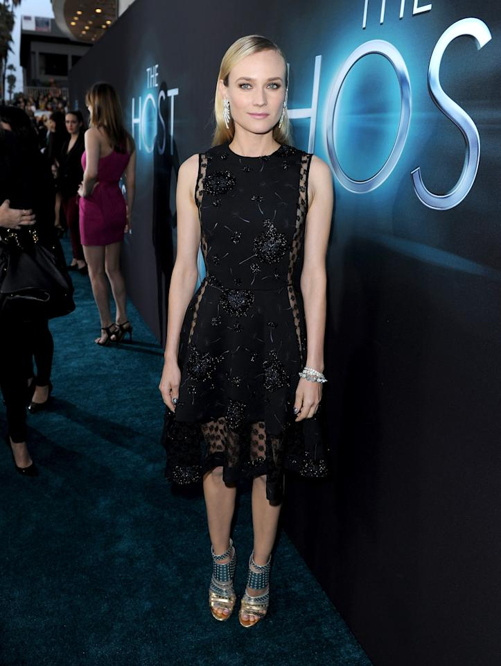 """HOLLYWOOD, CA - MARCH 19:  Actress Diane Kruger attends the premiere of Open Road Films """"The Host"""" at ArcLight Cinemas Cinerama Dome on March 19, 2013 in Hollywood, California.  (Photo by Kevin Winter/Getty Images)"""
