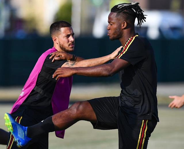 Belgium's Eden Hazard (left) and Michy Batshuayi warm up during a training session in Sochi (AFP Photo/Nelson Almeida)
