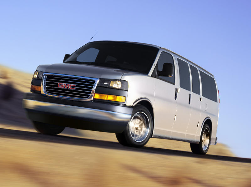 An undated photo provided by General Motors shows a 2003 GMC Savana van. General Motors is recalling more than 10,000 full-size vans in the U.S. and Canada because the fuel filler pipes can rust, leak and cause fires. The recall affects Chevrolet Express and GMC Savana vans from the 2003 and 2004 model years with left-side cargo doors. It covers vans sold in 20 states, Washington, D.C., and in Canada, where salt and chemicals are used to clear snow from roads. GM said Tuesday, Aug. 14, 2012 that salt and chemicals can get trapped in a conduit that covers the fuel filler pipe and cause corrosion. Gasoline may leak and cause a fire. The company said it doesn't know of any fires or injuries from the problem.  (AP Photo/General Motors)