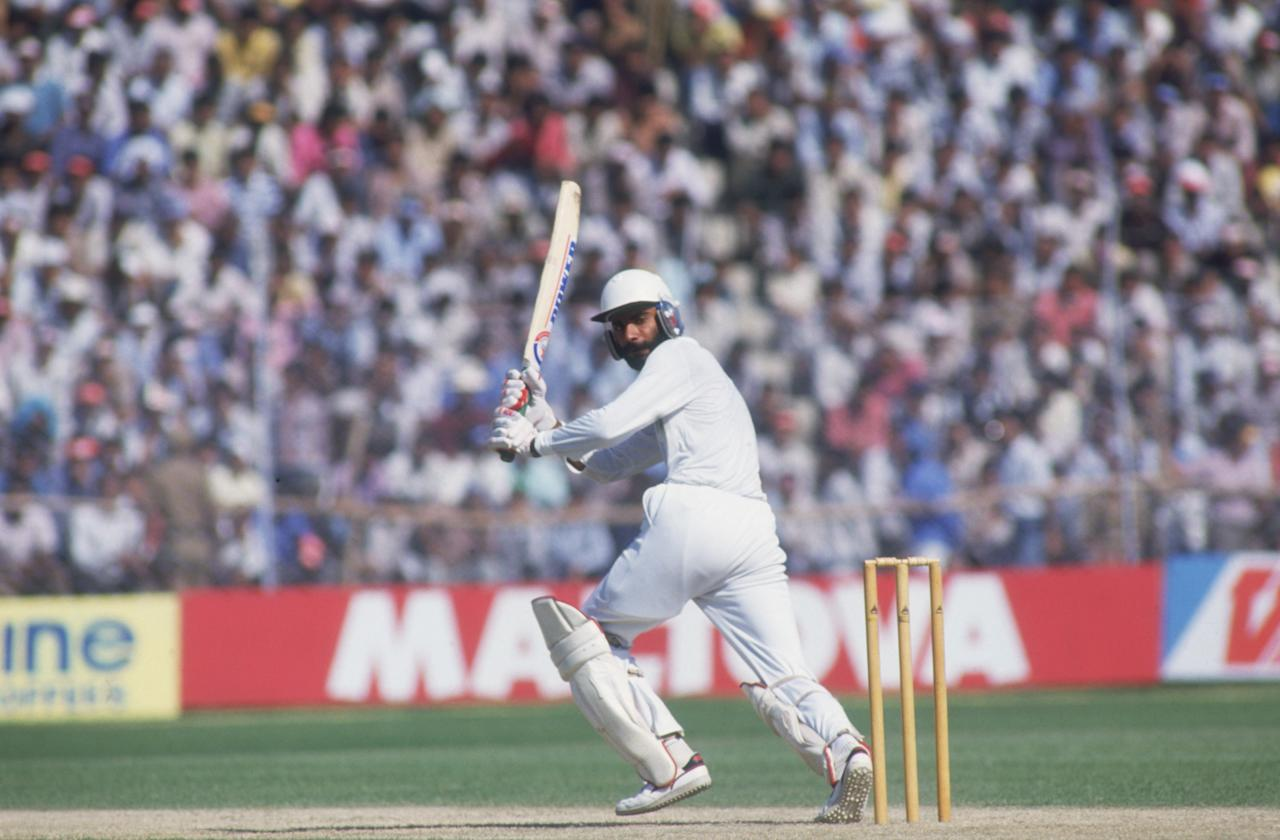 Navjot Sidhu batting for India during a Cricket World Cup first round match against Australia in Delhi, 22nd October 1987. India won the match by 56 runs.        (Photo by Adrian Murrell/Getty Images)
