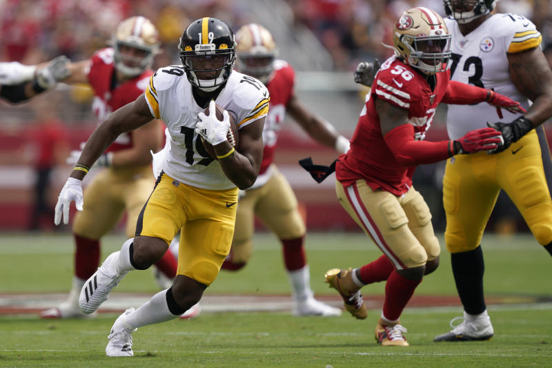Pittsburgh Steelers wide receiver JuJu Smith-Schuster (19) runs against the San Francisco 49ers during the first half of an NFL football game in Santa Clara, Calif., Sunday, Sept. 22, 2019. (AP Photo/Tony Avelar)