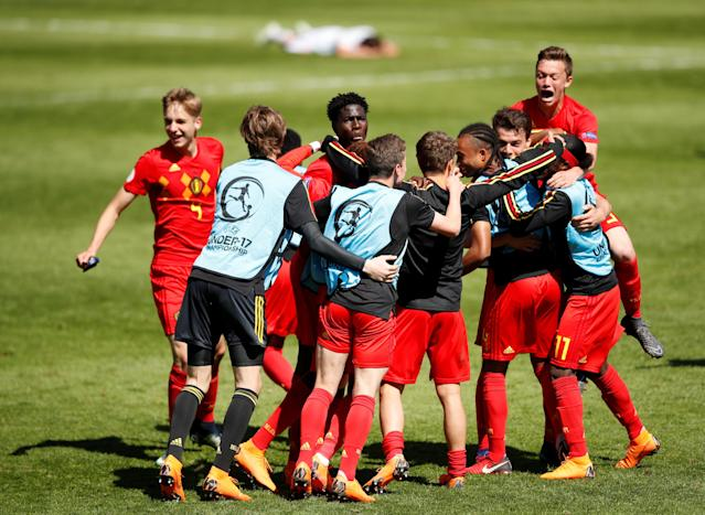 Soccer Football - UEFA European Under-17 Championship Quarter-Final - Belgium vs Spain - Banks's Stadium, Walsall, Britain - May 14, 2018 Belgium players celebrate after the match Action Images via Reuters/Carl Recine