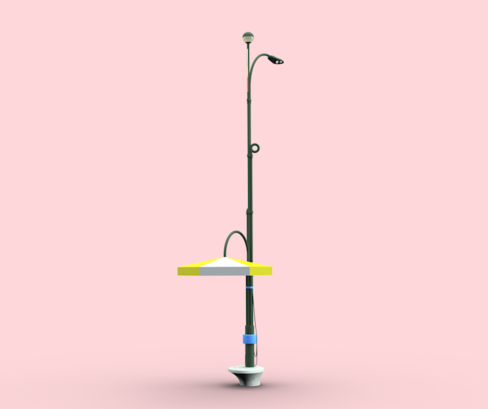 "<div class=""caption""> The new streetlight design allows for a variety of additions, such as shade fixtures, charging stations, or a bench. </div>"