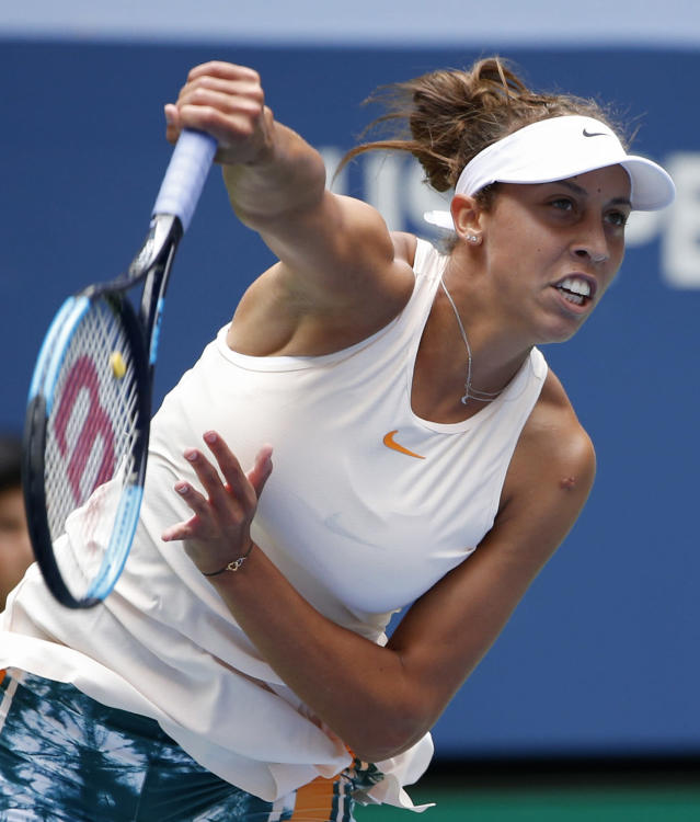 Madison Keys serves to Aleksandra Krunic, of Serbia, during the third round of the U.S. Open tennis tournament, Saturday, Sept. 1, 2018, in New York. (AP Photo/Jason DeCrow)