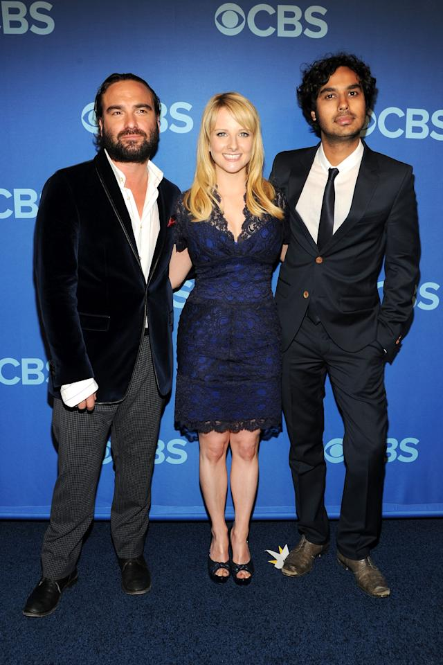 NEW YORK, NY - MAY 15:  (L-R) Cast members of The Big Bang Theory Johnny Galecki, Melissa Rauch and Kunal Nayyar attend CBS 2013 Upfront Presentation at The Tent at Lincoln Center on May 15, 2013 in New York City.  (Photo by Ben Gabbe/Getty Images)