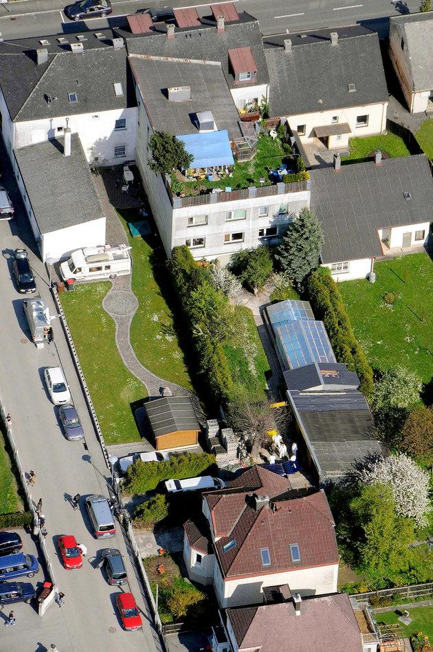 An aerial view of the Fritzl house in Amstetten, under which Elisabeth and her children were kept prisoner for 24 years