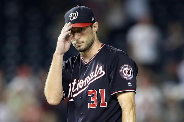 "What <a class=""link rapid-noclick-resp"" href=""/mlb/players/8193/"" data-ylk=""slk:Max Scherzer"">Max Scherzer</a> has been able to do the last few years in fantasy and reality is nothing less than stupendous. (Photo by Rob Carr/Getty Images)"