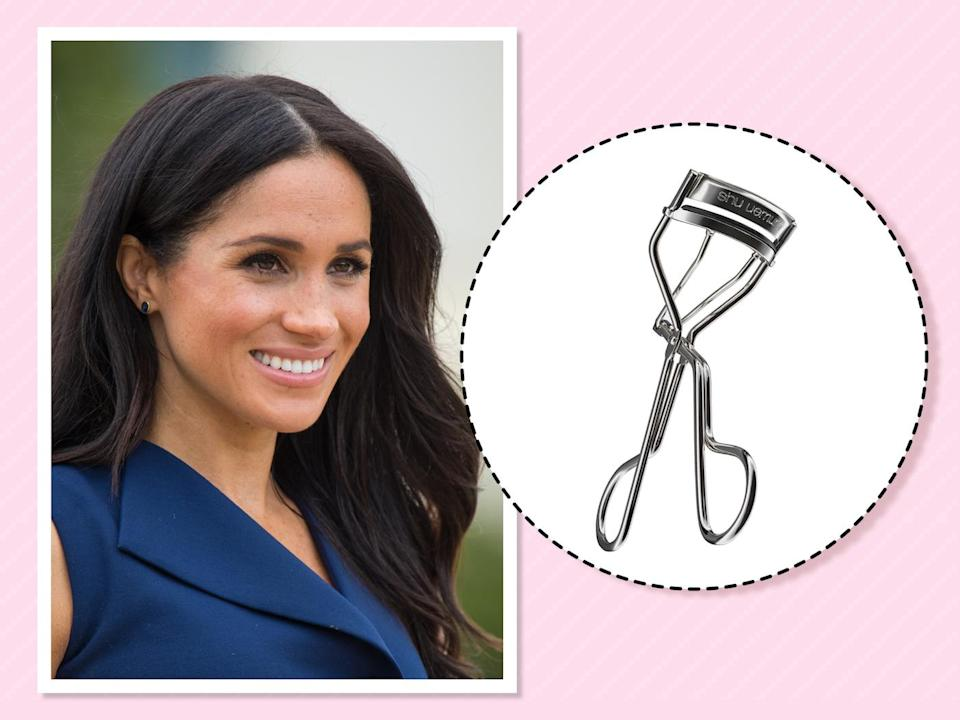 "<p>We finally know Markle's beauty secret for always looking fresh-faced and camera-ready: an eyelash curler. She told Beauty Banter this one is her must-have, ""because it makes you look instantly awake."" (Photo: Getty Images)<br><strong><a href=""https://fave.co/2zLB732"" rel=""nofollow noopener"" target=""_blank"" data-ylk=""slk:Shop it"" class=""link rapid-noclick-resp"">Shop it</a>:</strong> $22, <a href=""https://fave.co/2zLB732"" rel=""nofollow noopener"" target=""_blank"" data-ylk=""slk:shuuemura.com"" class=""link rapid-noclick-resp"">shuuemura.com</a> </p>"