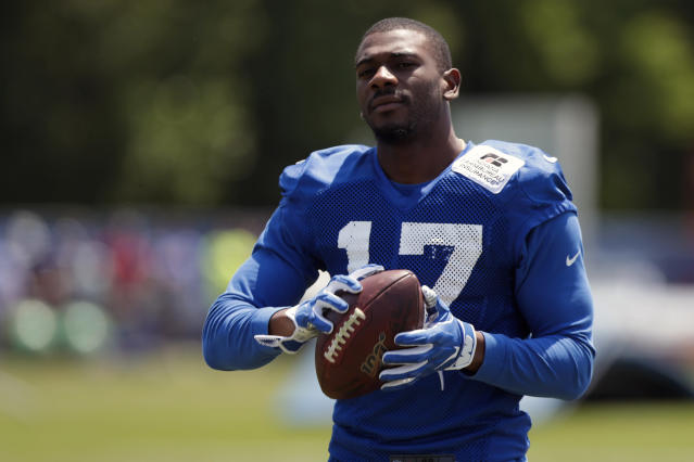 FILE - In this July 25, 2019, file photo, Indianapolis Colts wide receiver Devin Funchess (17) runs a drill during practice at the NFL team's football training camp in Westfield, Ind. The Green Bay Packers have signed wide receiver Devin Funchess as he tries to bounce back from an injury-shortened 2019 season. Funchess played for the Indianapolis Colts last year but went on injured reserve after breaking his collarbone in a season-opening 30-24 loss to the Los Angeles Chargers. (AP Photo/Michael Conroy, File)