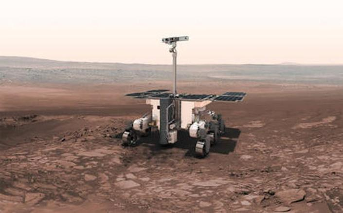 """<span class=""""caption"""">Rosalind Franklin rover.</span> <span class=""""attribution""""><span class=""""source"""">ESA-AOES medialab</span>, <a class=""""link rapid-noclick-resp"""" href=""""http://creativecommons.org/licenses/by-sa/4.0/"""" rel=""""nofollow noopener"""" target=""""_blank"""" data-ylk=""""slk:CC BY-SA"""">CC BY-SA</a></span>"""