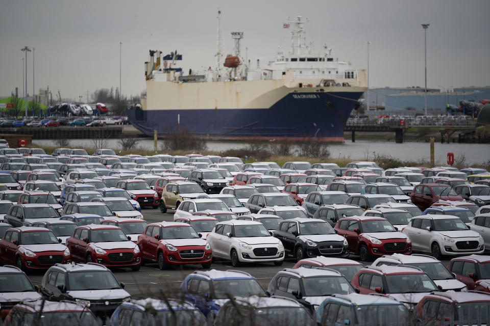 Suzuki cars are stored at Grimsby Docks, UK. Photo: Christopher Furlong/Getty Images