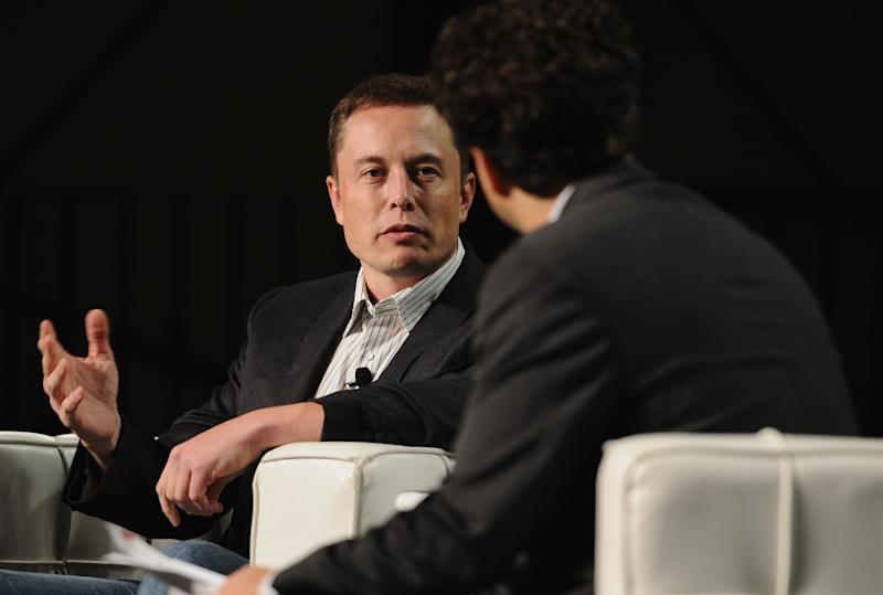 SAN FRANCISCO, CA - SEPTEMBER 14: CEO & CTO of Space Exploration Technologies, Co-Founder & CEO of Tesla Motors Elon Musk (L) and TechCrunch Co-Editor Erick Schonfeld speak onstage at Day 3 of TechCrunch Disrupt SF 2011 held at the San Francisco Design Center Concourse on September 14, 2011 in San Francisco, California. (Photo by Araya Diaz/Getty Images for TechCrunch)