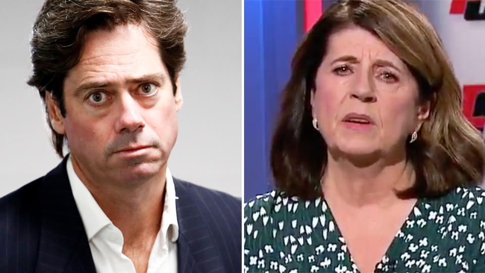 Caroline Wilson, pictured here blasting Gillon McLachlan and the AFL on Footy Classified.