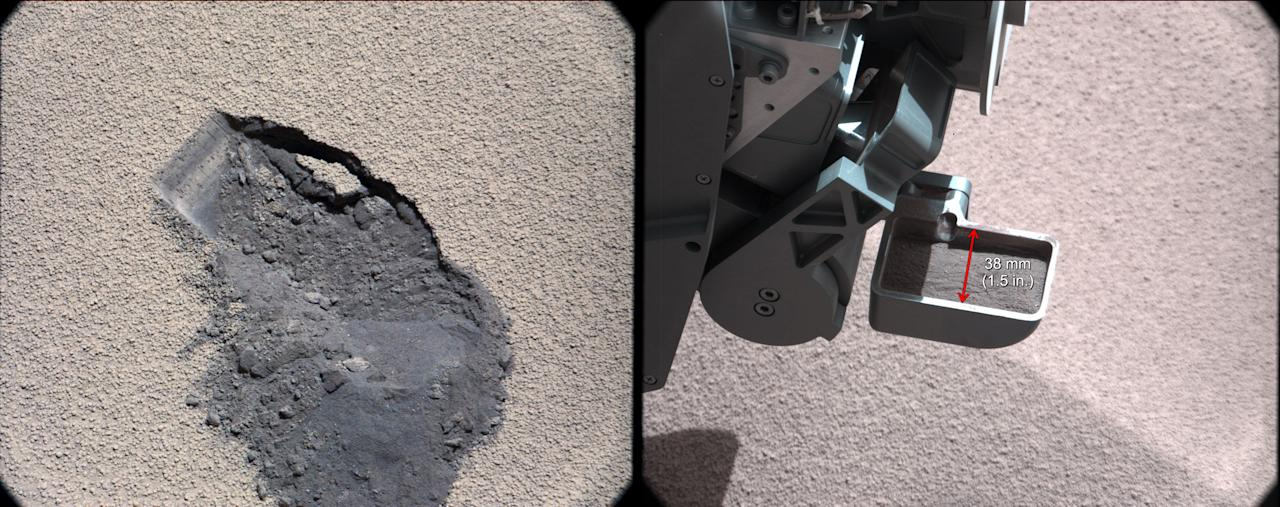"This pair of images shows a ""bite mark"" where NASA's Curiosity rover scooped up some Martian soil (left), and the scoop carrying soil. (NASA)"