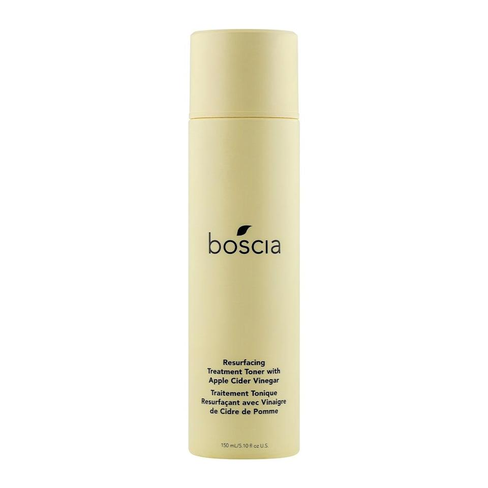 """<p>Those who are blemish-prone will want to pay special attention to the Boscia Resurfacing Treatment Toner. It contains alpha- and beta-hydroxy acids (like glycolic and <a href=""""https://www.allure.com/story/what-does-salicylic-acid-do?mbid=synd_yahoo_rss"""" rel=""""nofollow noopener"""" target=""""_blank"""" data-ylk=""""slk:salicylic acid"""" class=""""link rapid-noclick-resp"""">salicylic acid</a>) to gently remove dead skin cells and clear pores of dirt and grime — both of which will prevent breakouts in the long run.</p> <p><strong>$28</strong> (<a href=""""https://shop-links.co/1697700645866735181"""" rel=""""nofollow noopener"""" target=""""_blank"""" data-ylk=""""slk:Shop Now"""" class=""""link rapid-noclick-resp"""">Shop Now</a>)</p>"""