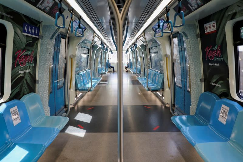 A view of Mass Rapid Transit train during a lockdown due to the coronavirus disease (COVID-19) outbreak, in Kuala Lumpur