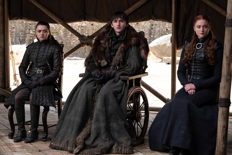 Arya, Bran and Sansa in the finale episode.  (Photo: Macall B. Polay/HBO)